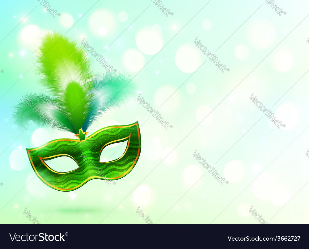 Green carnival mask with feathers banner vector | Price: 1 Credit (USD $1)