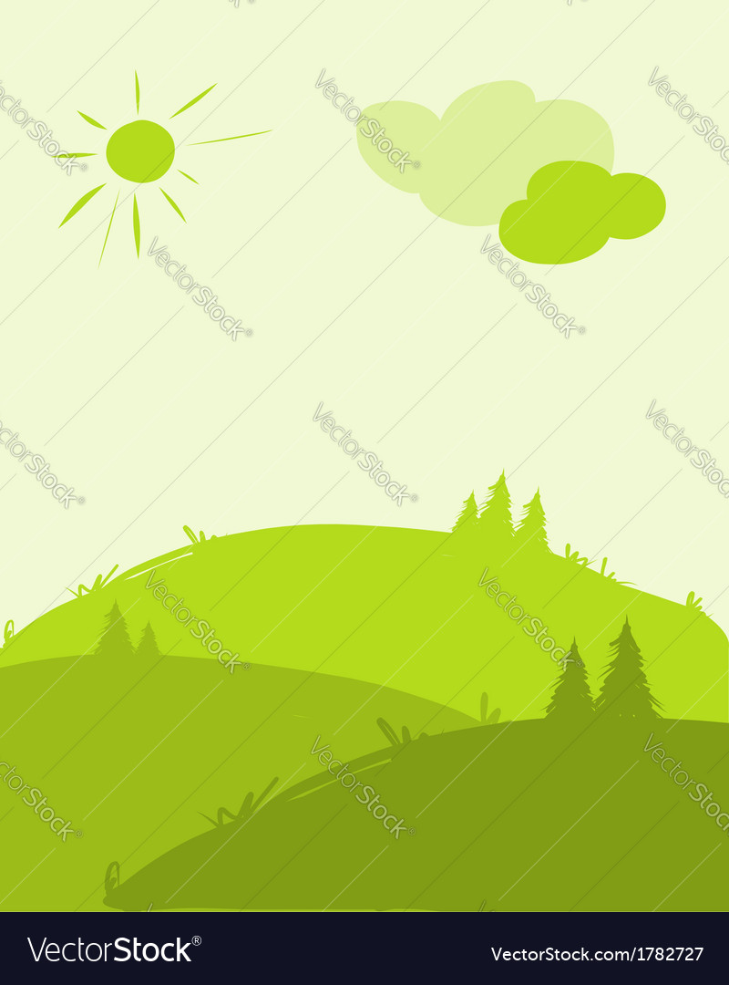 Green hills landscape for your design vector | Price: 1 Credit (USD $1)