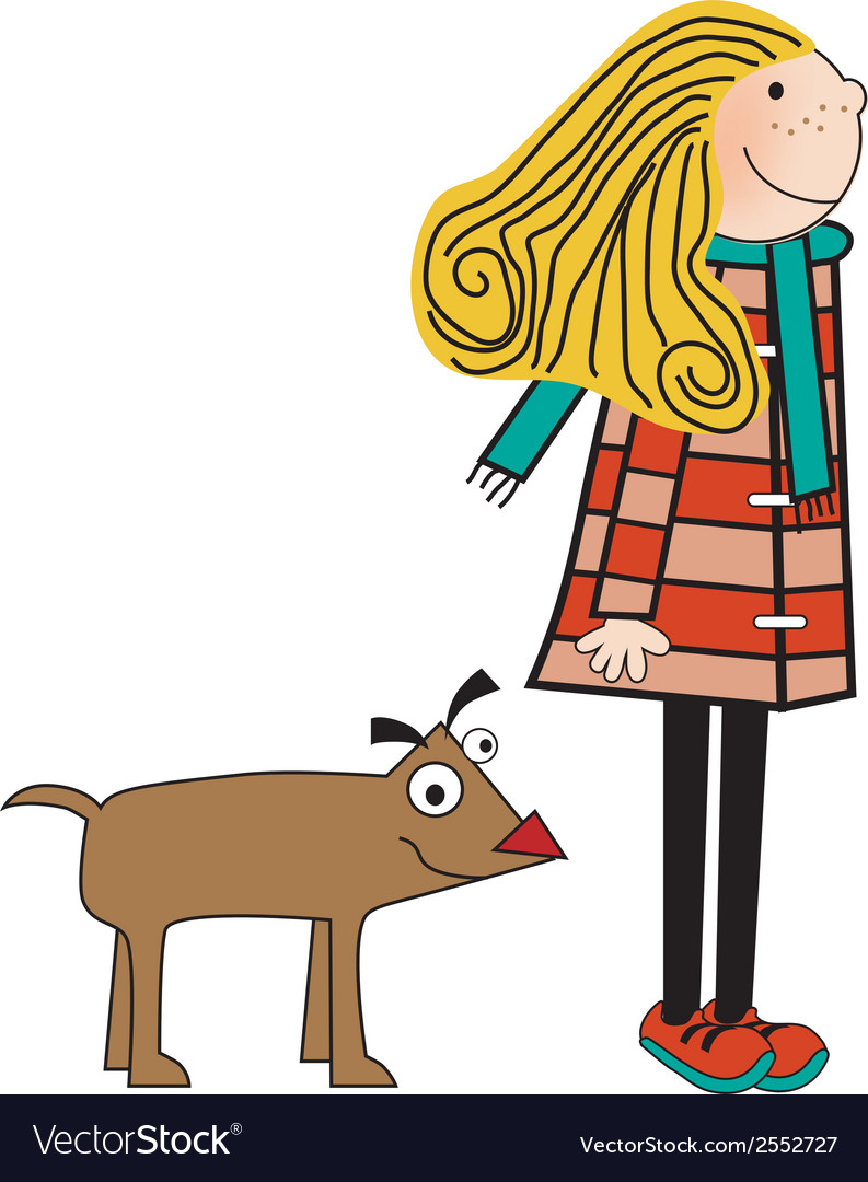 Happy dog with girl vector | Price: 1 Credit (USD $1)