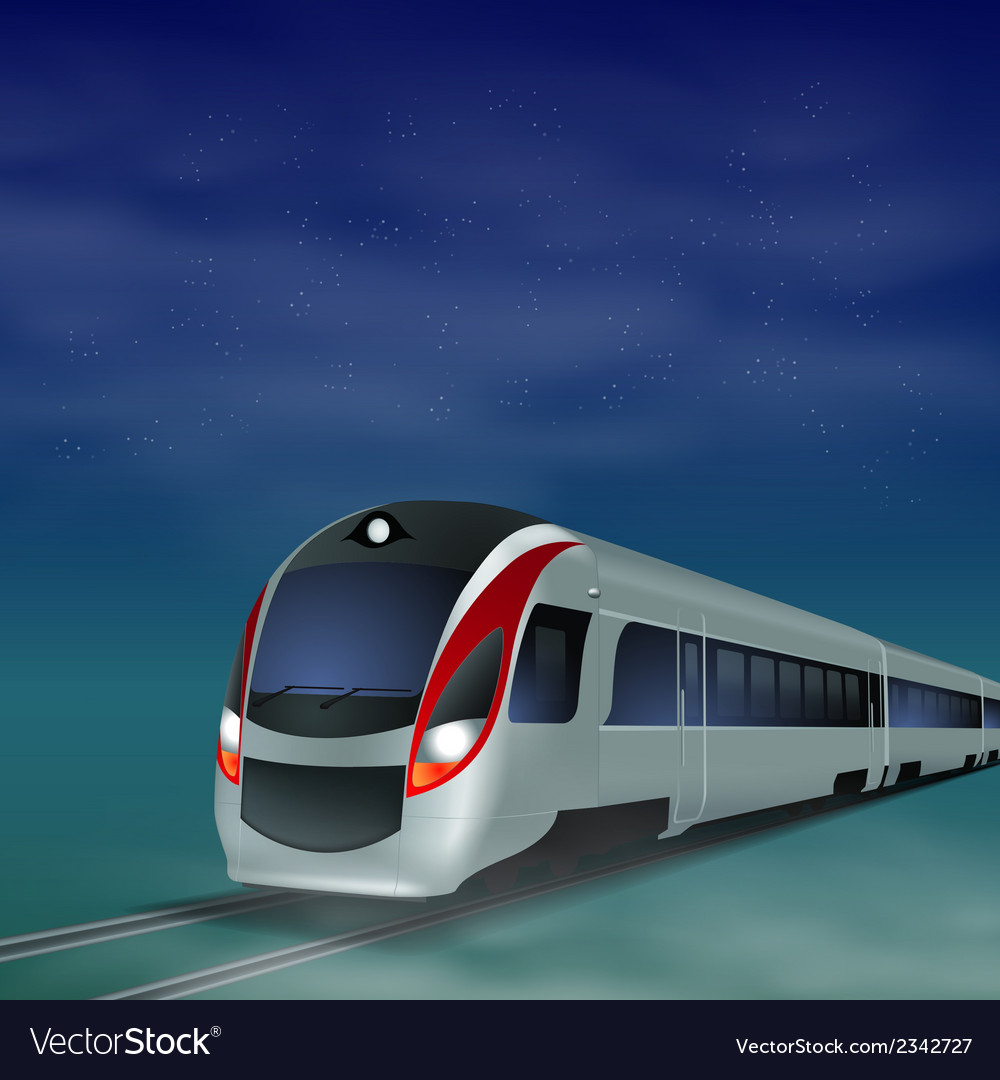 High-speed train at night vector | Price: 1 Credit (USD $1)