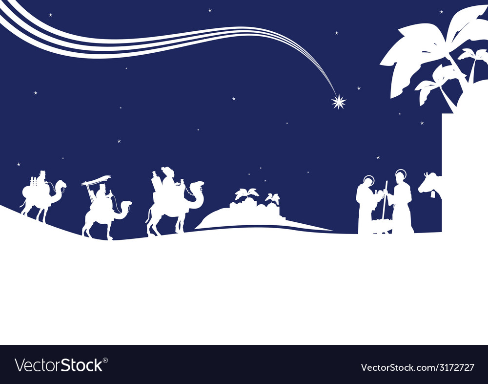 Nativity scene monocrome vector | Price: 1 Credit (USD $1)