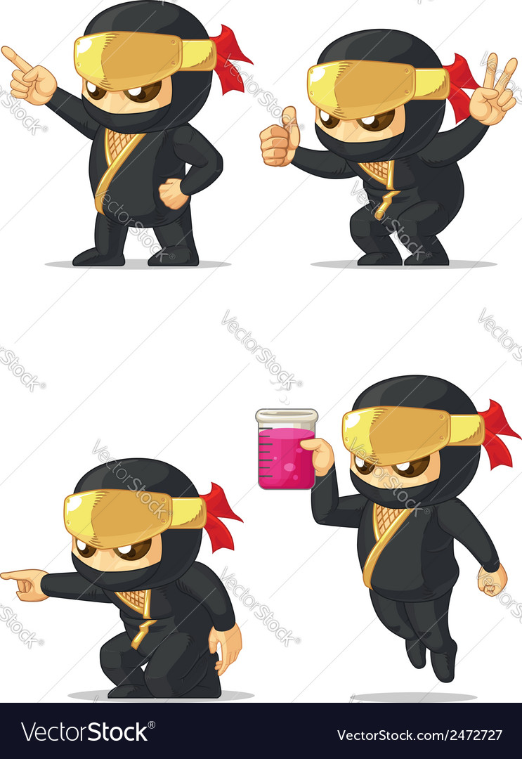 Ninja customizable mascot 5 vector | Price: 1 Credit (USD $1)