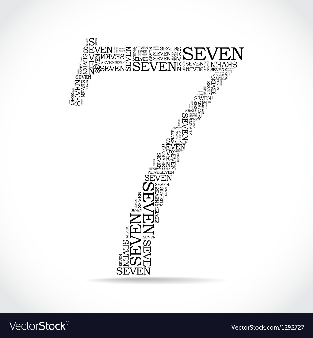 Number seven created from text vector | Price: 1 Credit (USD $1)