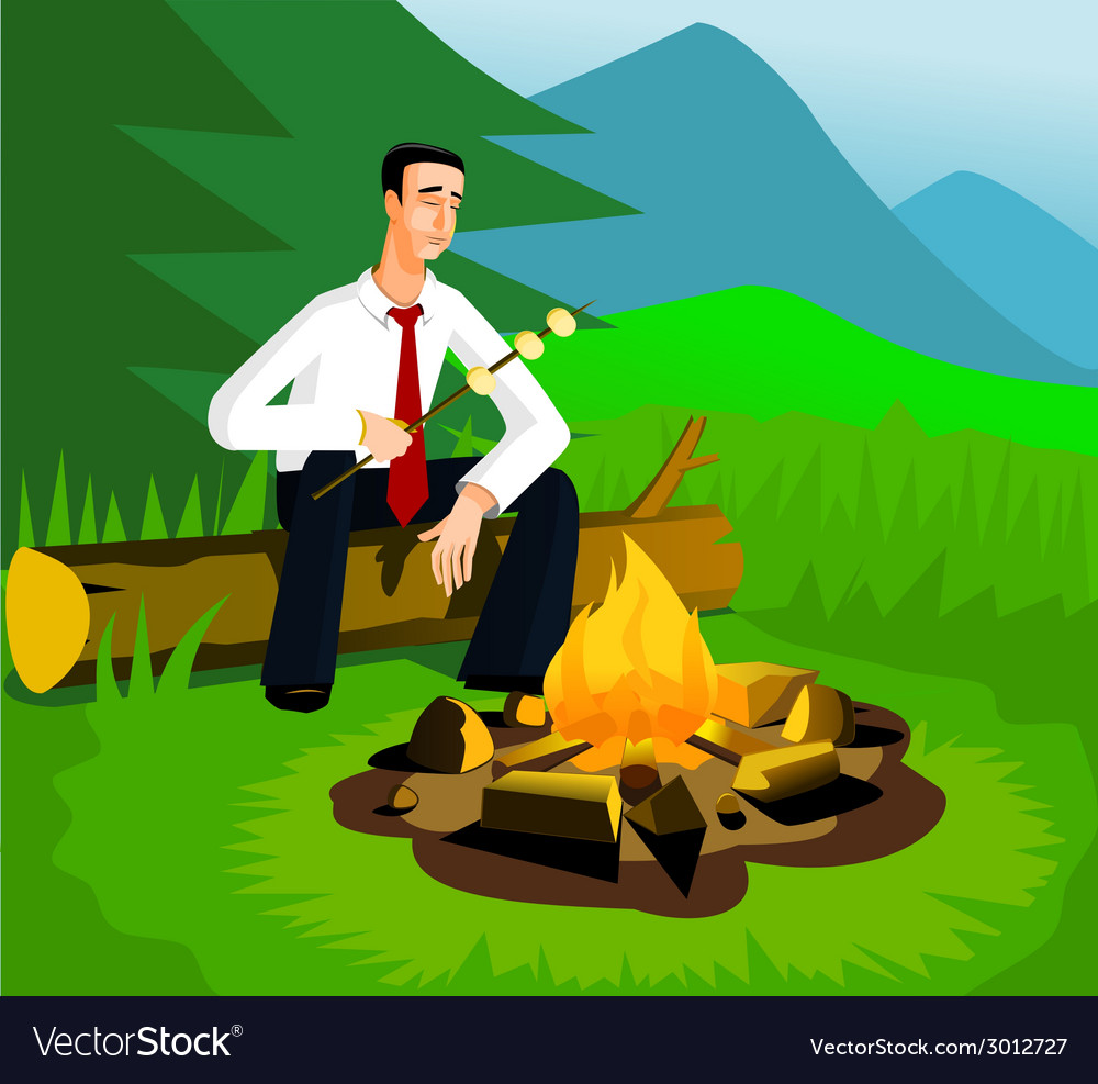 Relaxing businessman near campfire vector | Price: 3 Credit (USD $3)