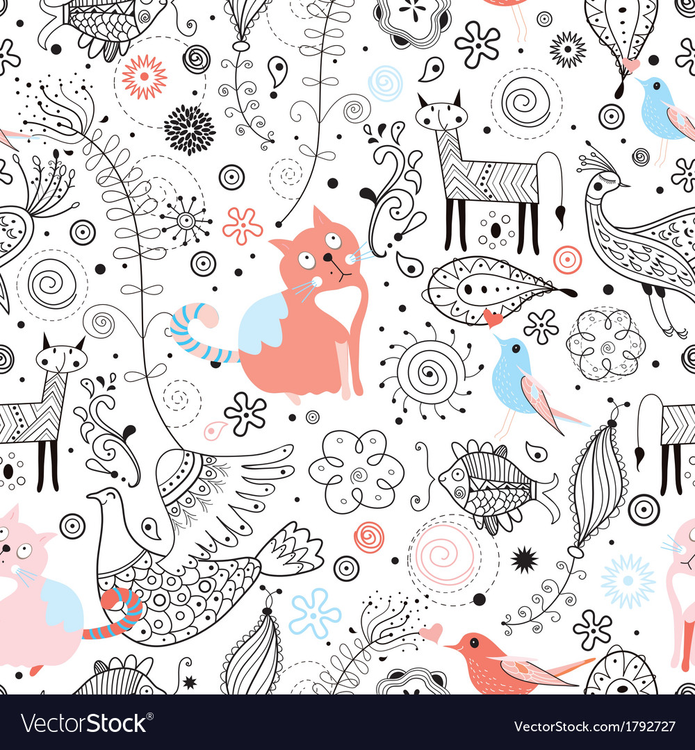 Texture of funny cats and fabulous animals vector | Price: 1 Credit (USD $1)