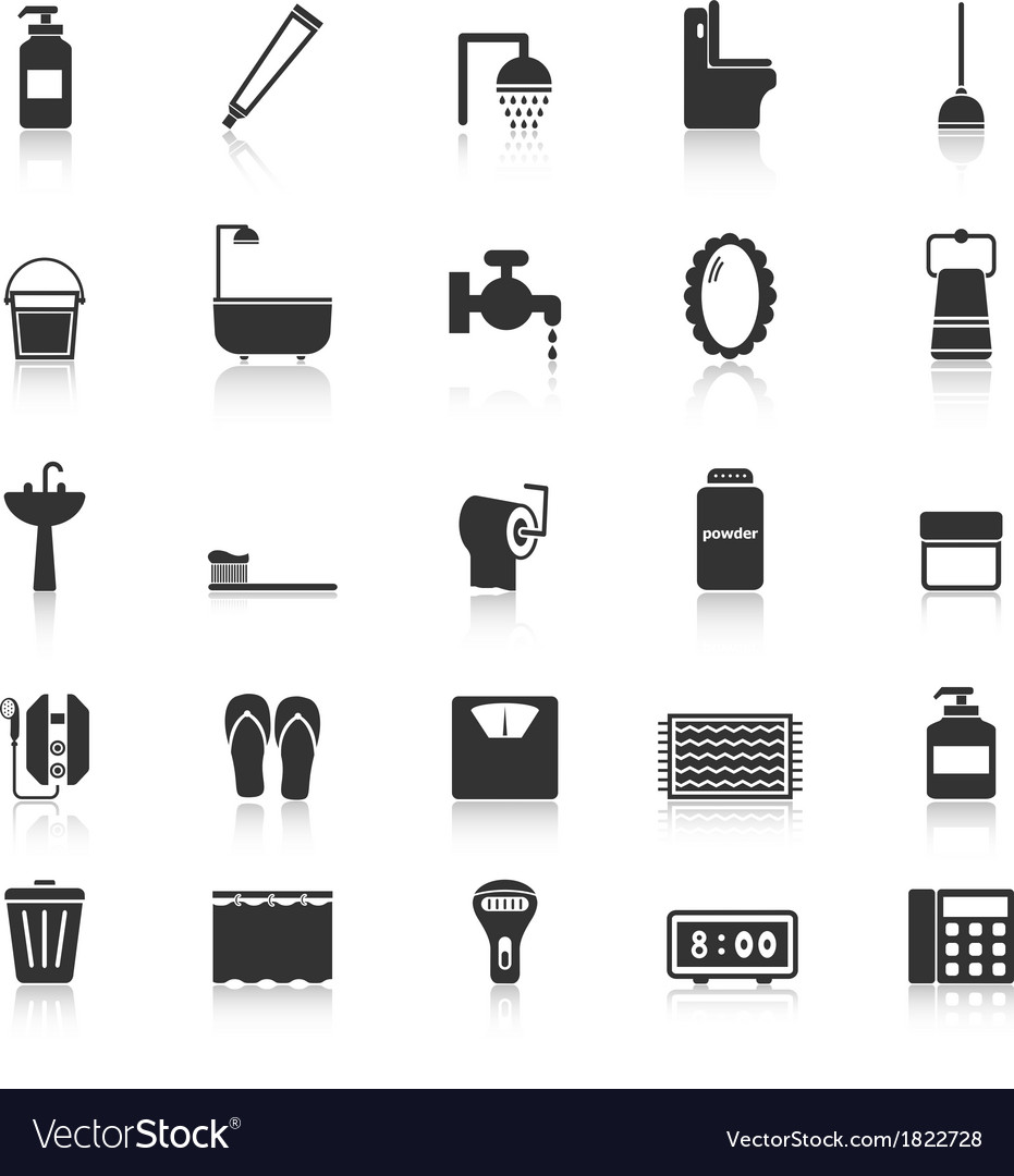 Bathroom icons with reflect on white background vector | Price: 1 Credit (USD $1)