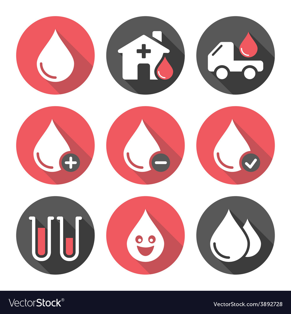 Blood donation icons set vector | Price: 1 Credit (USD $1)