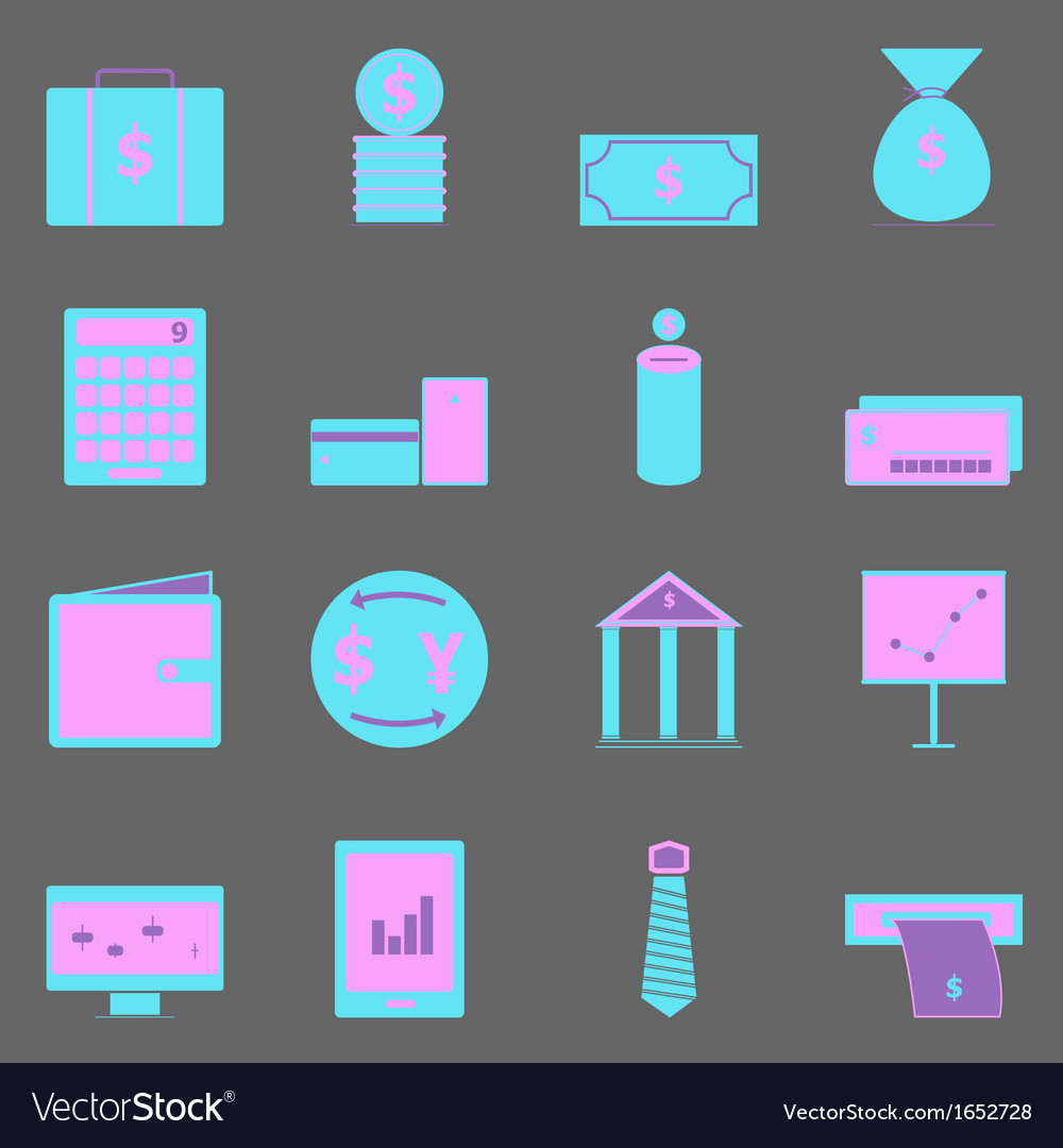 Business color icons on gray background vector | Price: 1 Credit (USD $1)
