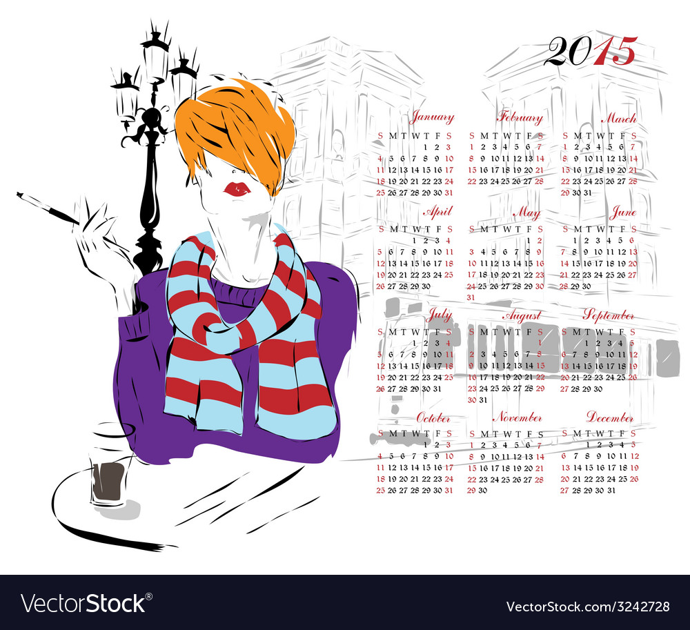 Calendar with fashion girl vector | Price: 1 Credit (USD $1)
