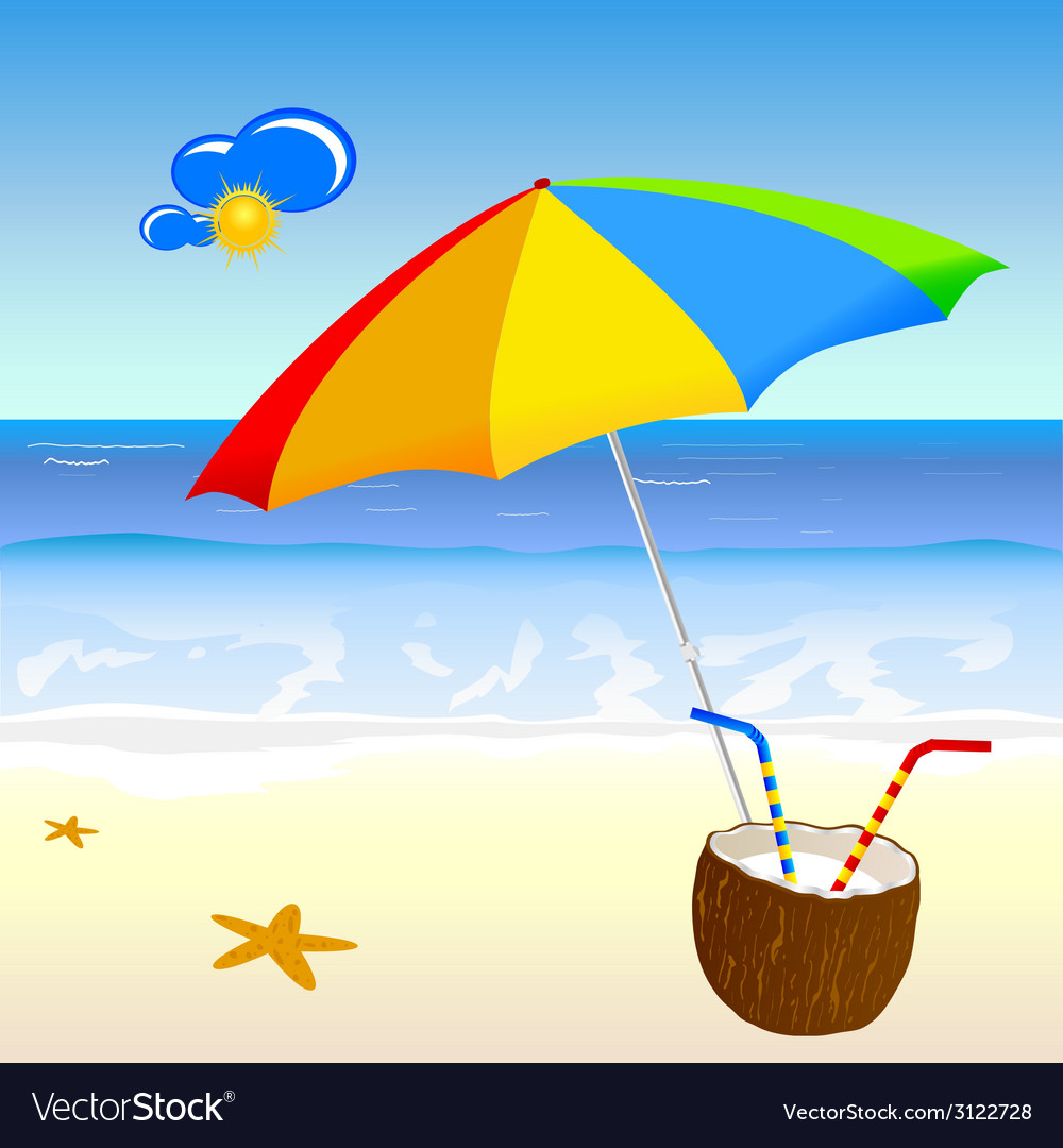 Coconut milk on the beach vector | Price: 1 Credit (USD $1)