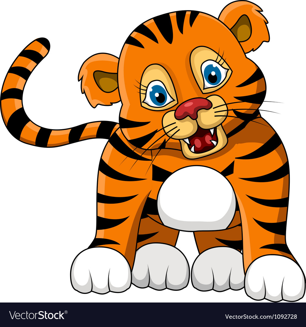 Cute young tiger cartoon expression vector | Price: 1 Credit (USD $1)