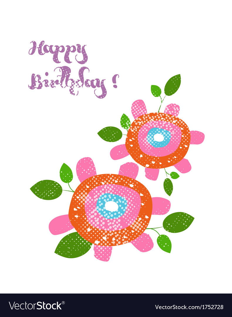 Happy birthday with flower vector | Price: 1 Credit (USD $1)