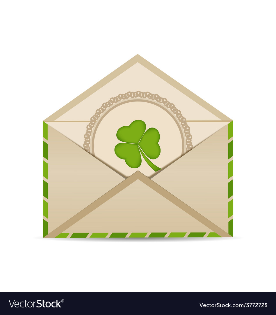 Open vintage envelope with clover isolated on vector | Price: 1 Credit (USD $1)