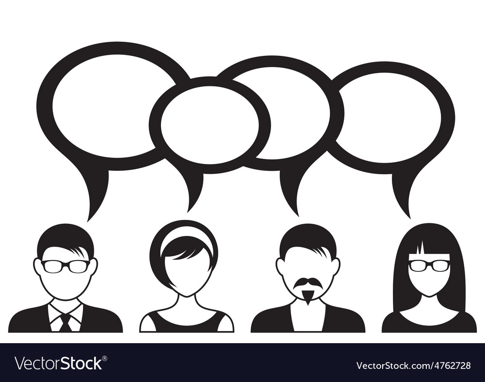 People with speech bubbles vector | Price: 1 Credit (USD $1)