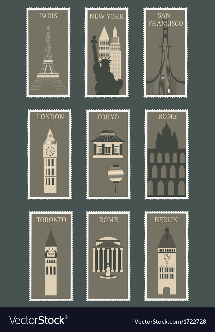 Stamps with famous cities vector | Price: 1 Credit (USD $1)