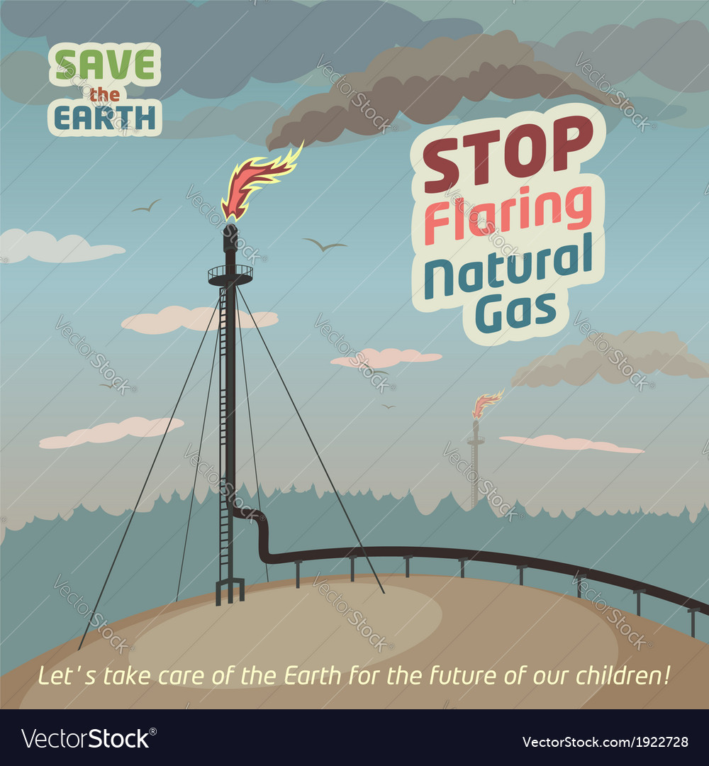 Stop flaring natural gas vector | Price: 3 Credit (USD $3)