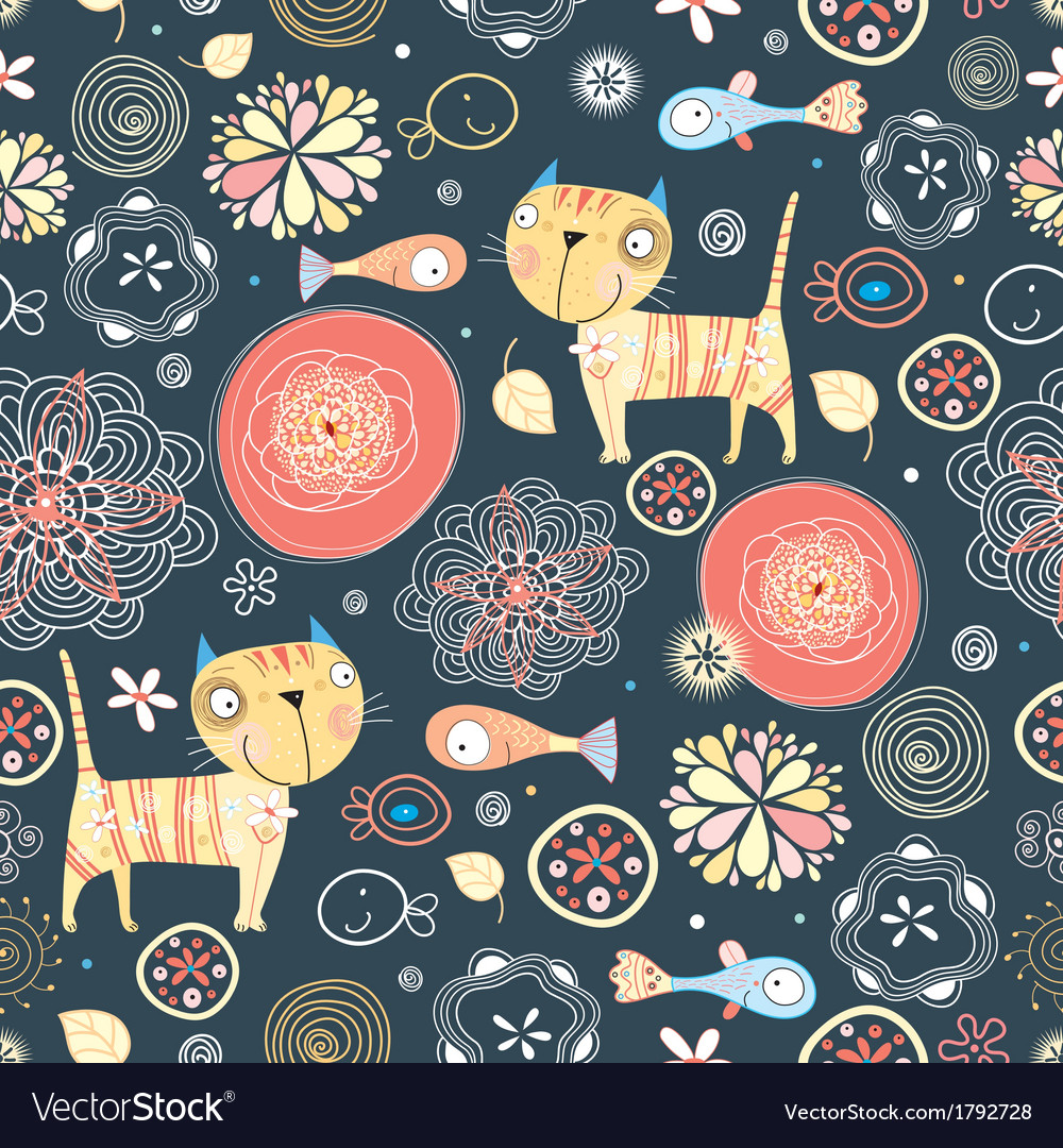 Texture of funny cats and fish vector | Price: 1 Credit (USD $1)