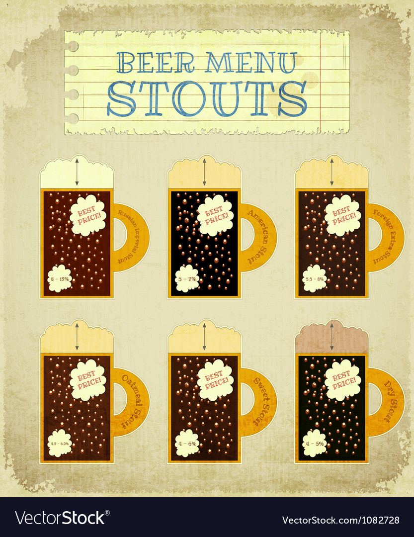 Vintage beer card stouts vector | Price: 1 Credit (USD $1)