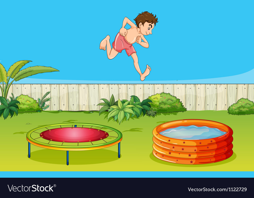 A boy on a trampoline vector | Price: 1 Credit (USD $1)