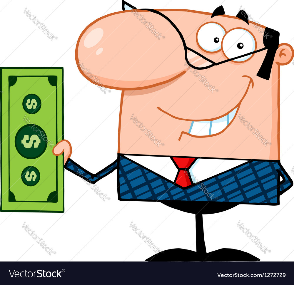 Business manager holding a dollar bill vector | Price: 1 Credit (USD $1)