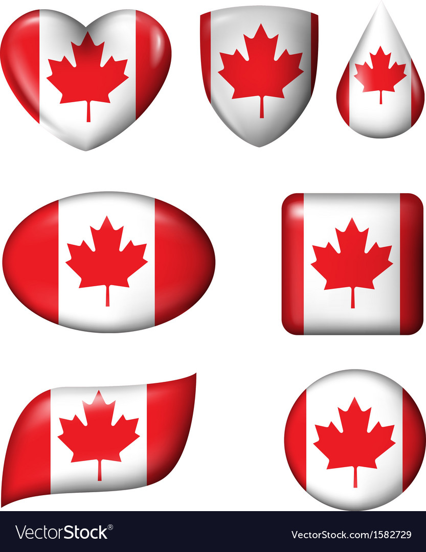 Canada flag in various shape glossy button vector | Price: 1 Credit (USD $1)