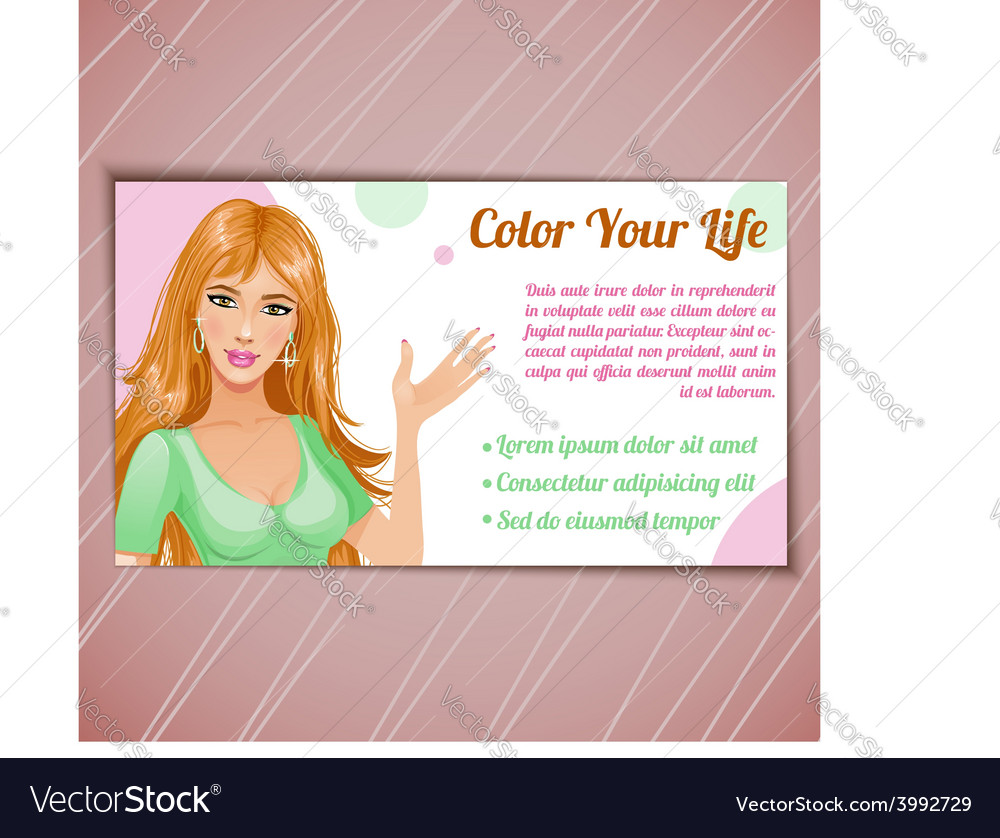 Card of beauty salon with woman eps10 vector | Price: 1 Credit (USD $1)