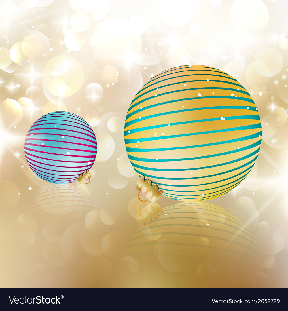 Christmas balls on abstract background vector | Price: 1 Credit (USD $1)