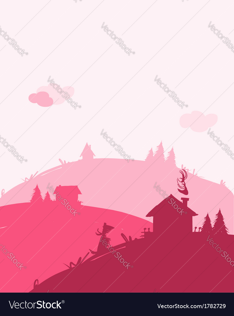 Dawn in village landscape for your design vector | Price: 1 Credit (USD $1)