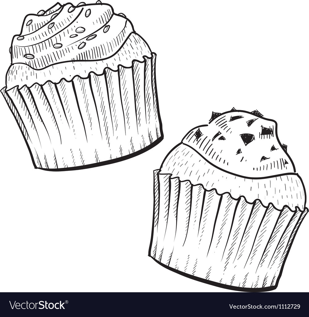 Doodle cupcakes vector | Price: 1 Credit (USD $1)