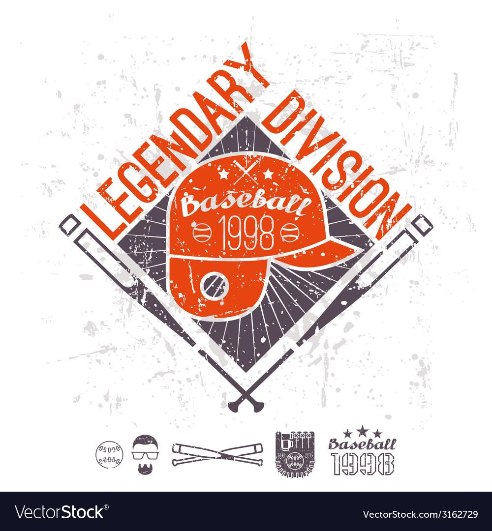 Emblem baseball legendary division of college vector | Price: 1 Credit (USD $1)