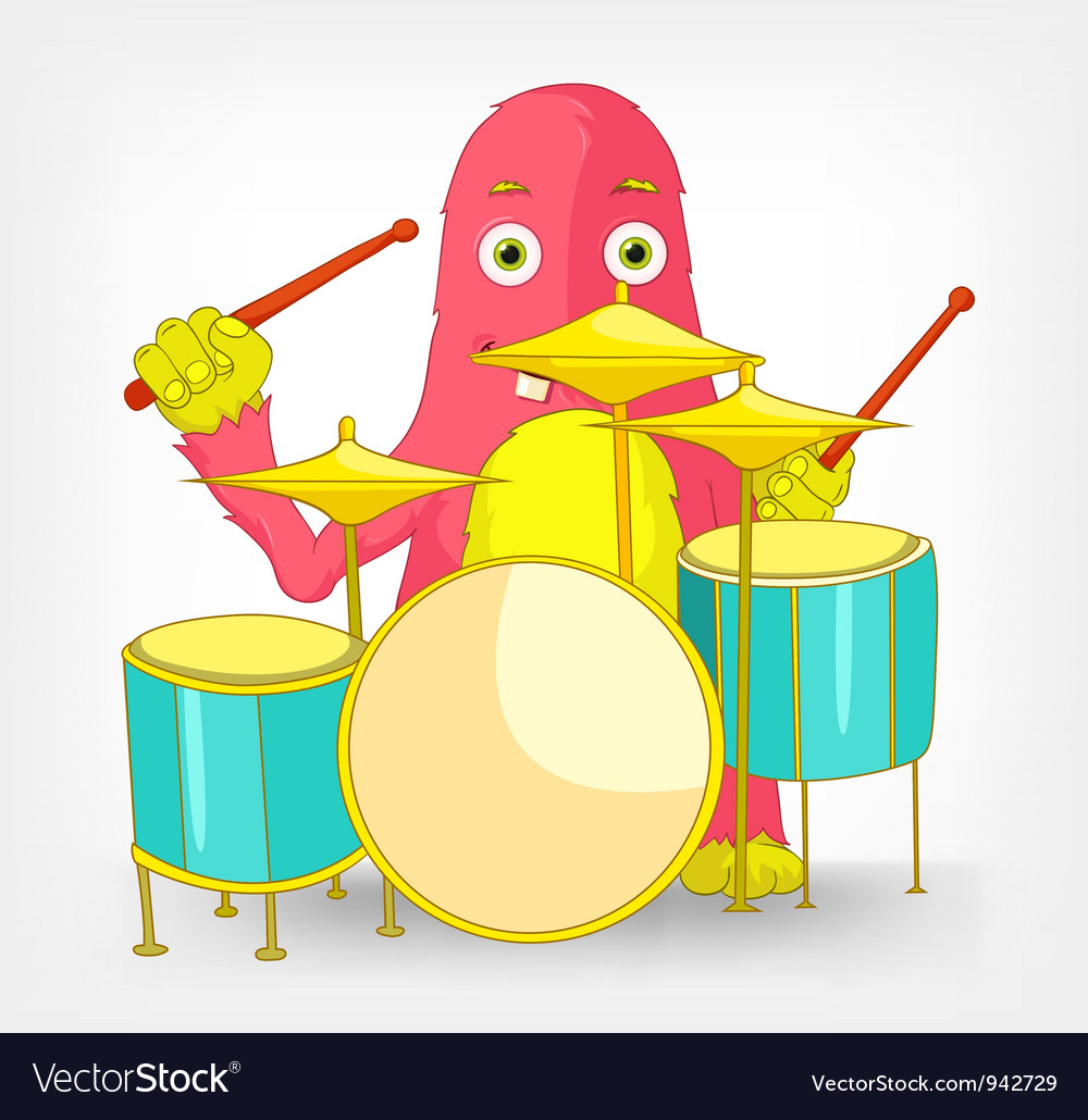 Funny monster drummer vector | Price: 3 Credit (USD $3)