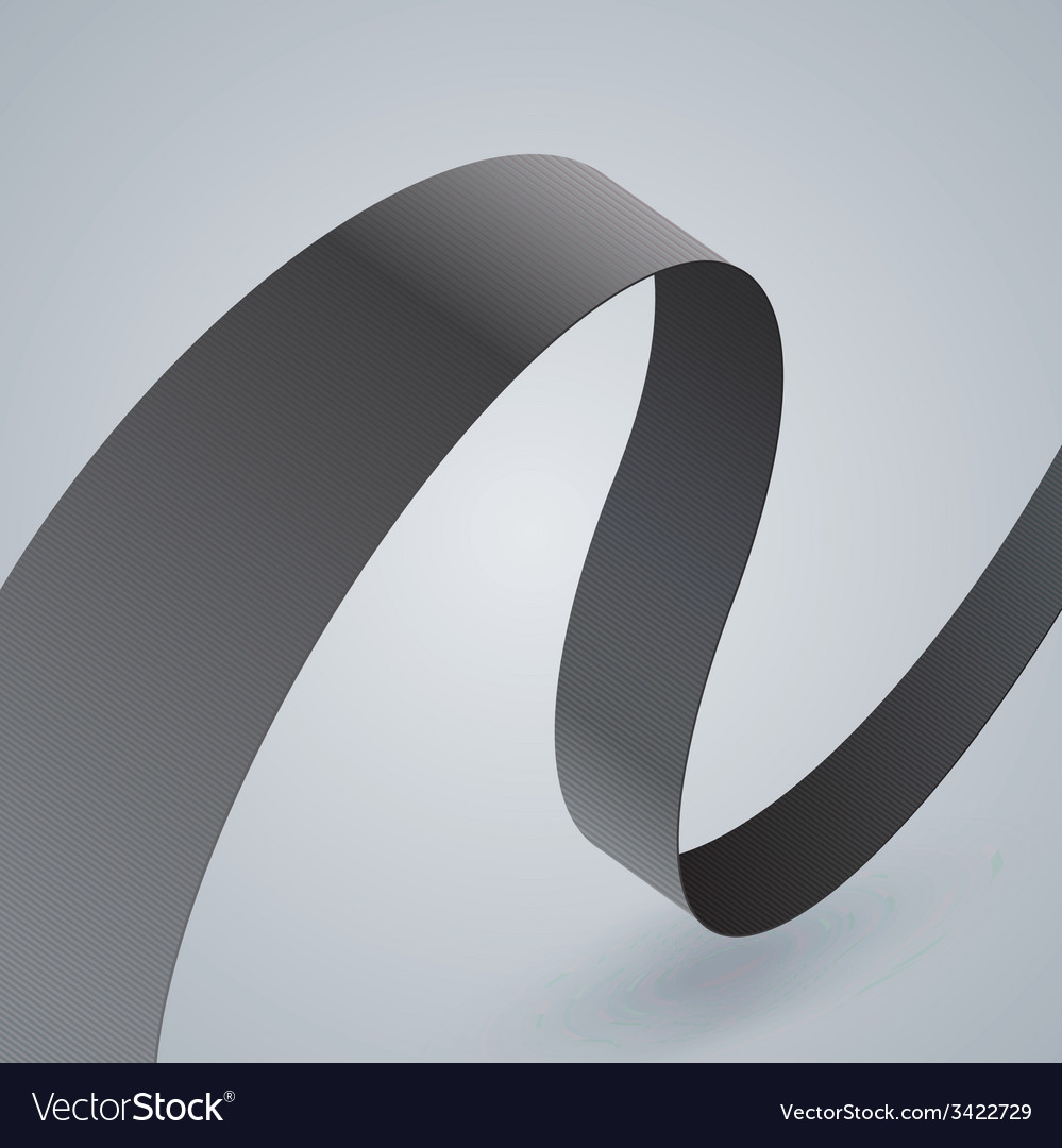 Gray fabric curved ribbon on grey background vector | Price: 1 Credit (USD $1)
