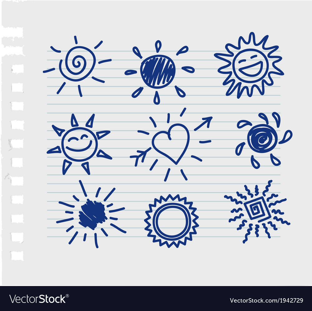 Hand-draw sun set vector | Price: 1 Credit (USD $1)