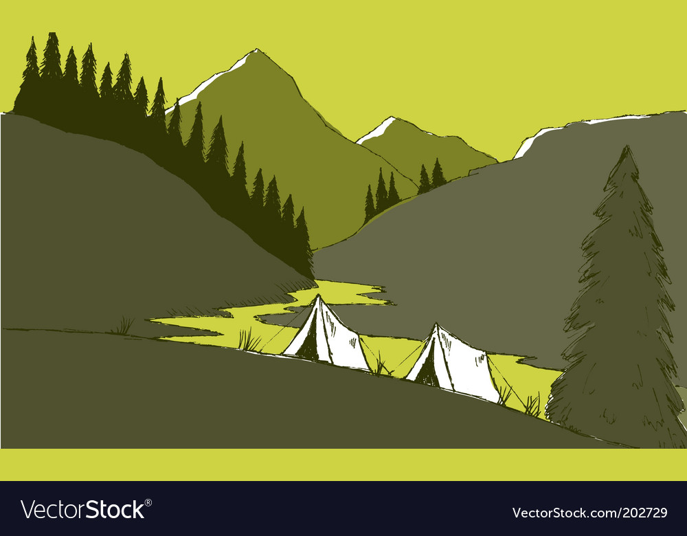 Mountain camp vector | Price: 1 Credit (USD $1)