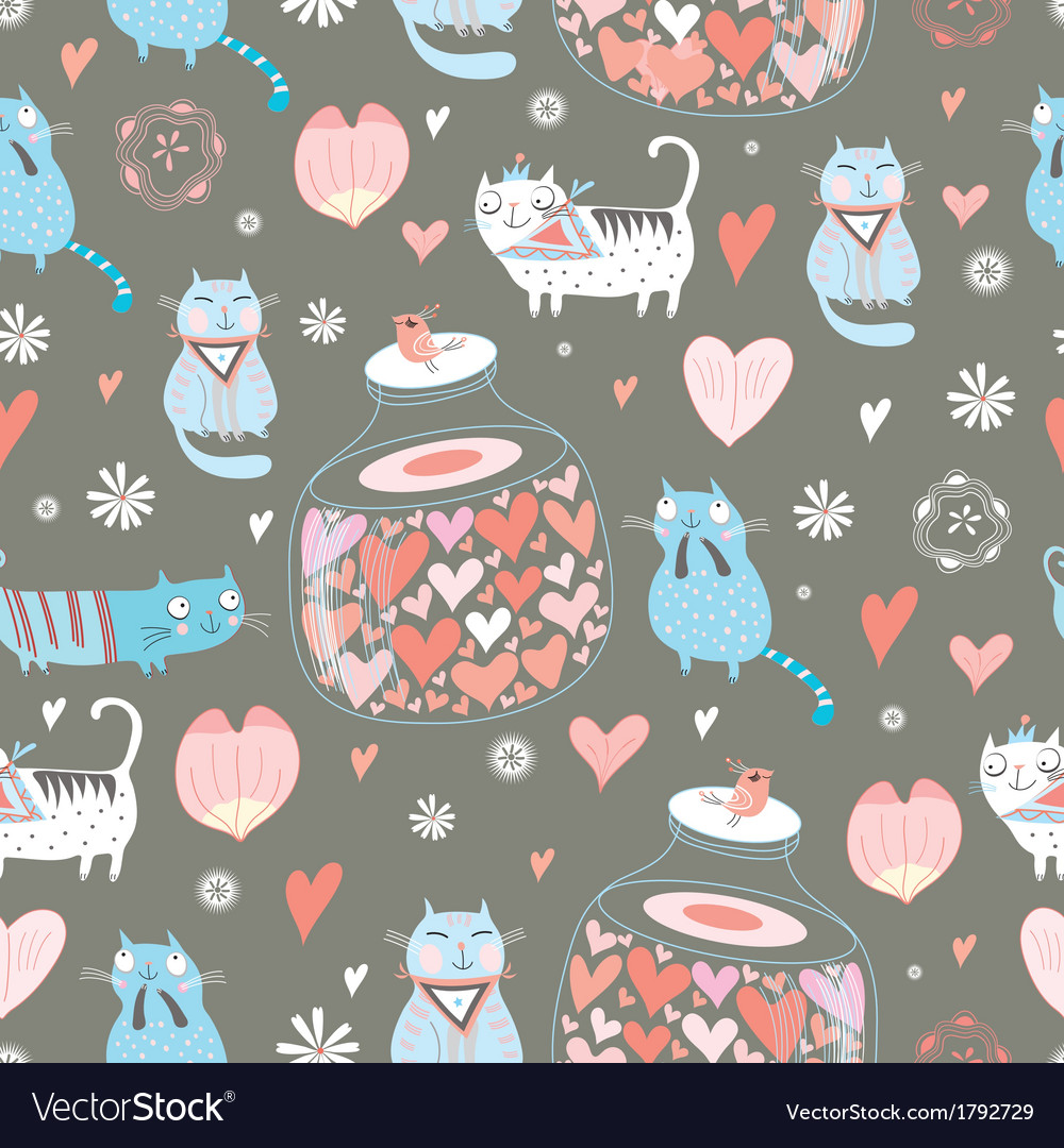 Texture funny love cats vector | Price: 1 Credit (USD $1)