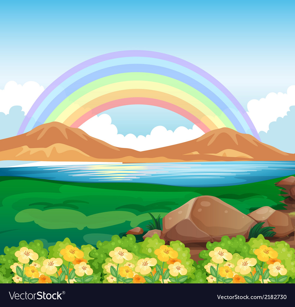 A view of the rainbow and the beautiful nature vector | Price: 1 Credit (USD $1)