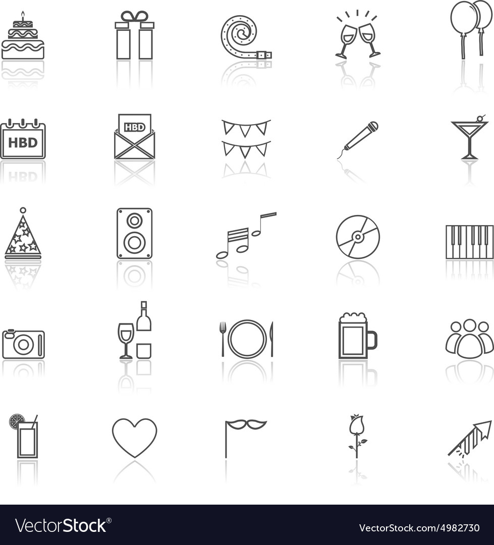Birthday line icons with reflect on white vector