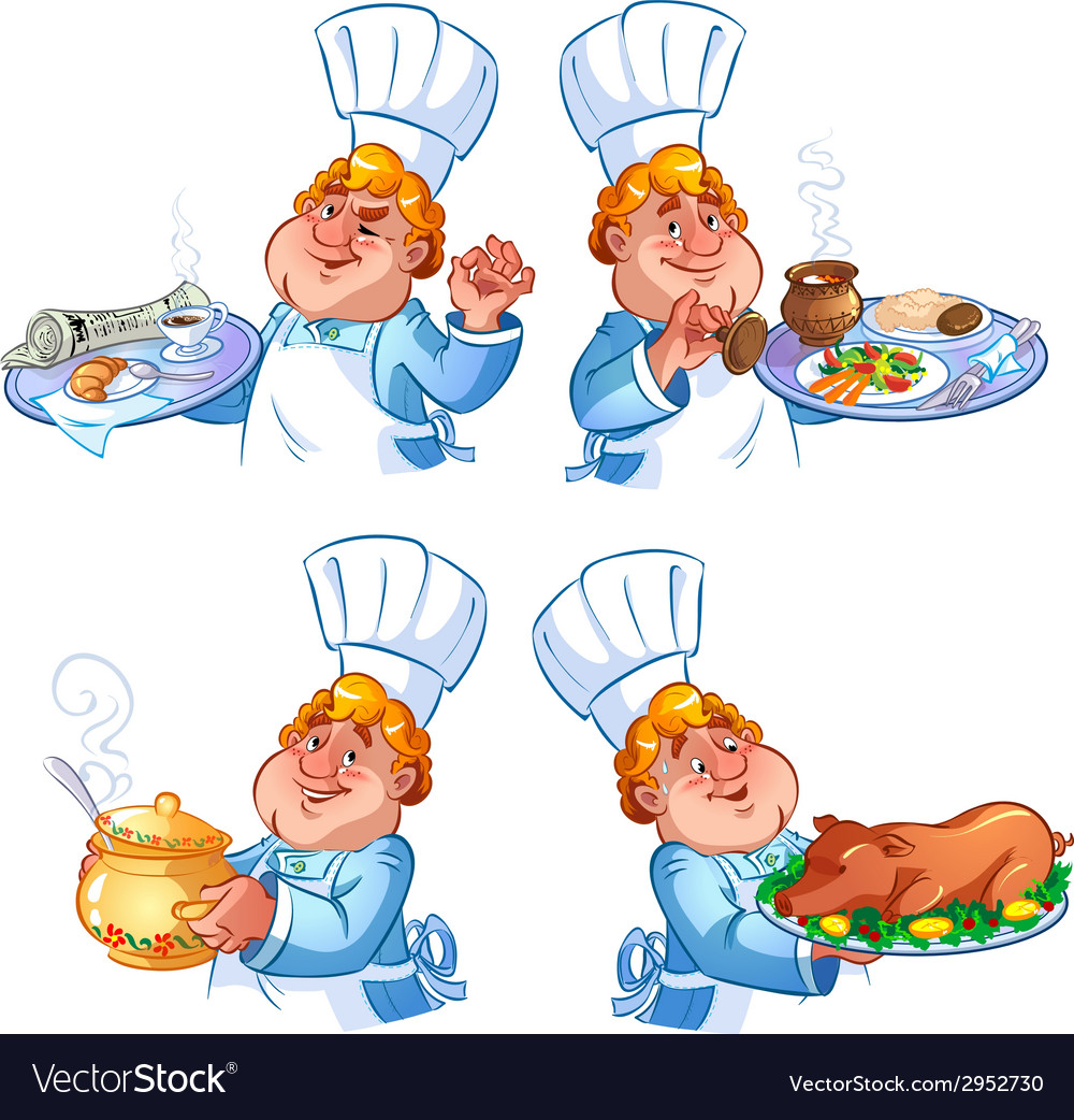 Cheerful redhead cook vector | Price: 1 Credit (USD $1)