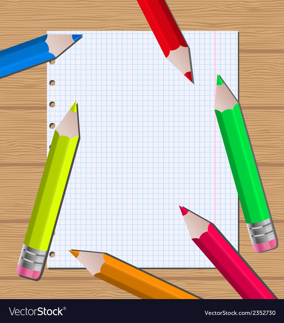 Colorful pencils on paper sheet background vector | Price: 1 Credit (USD $1)
