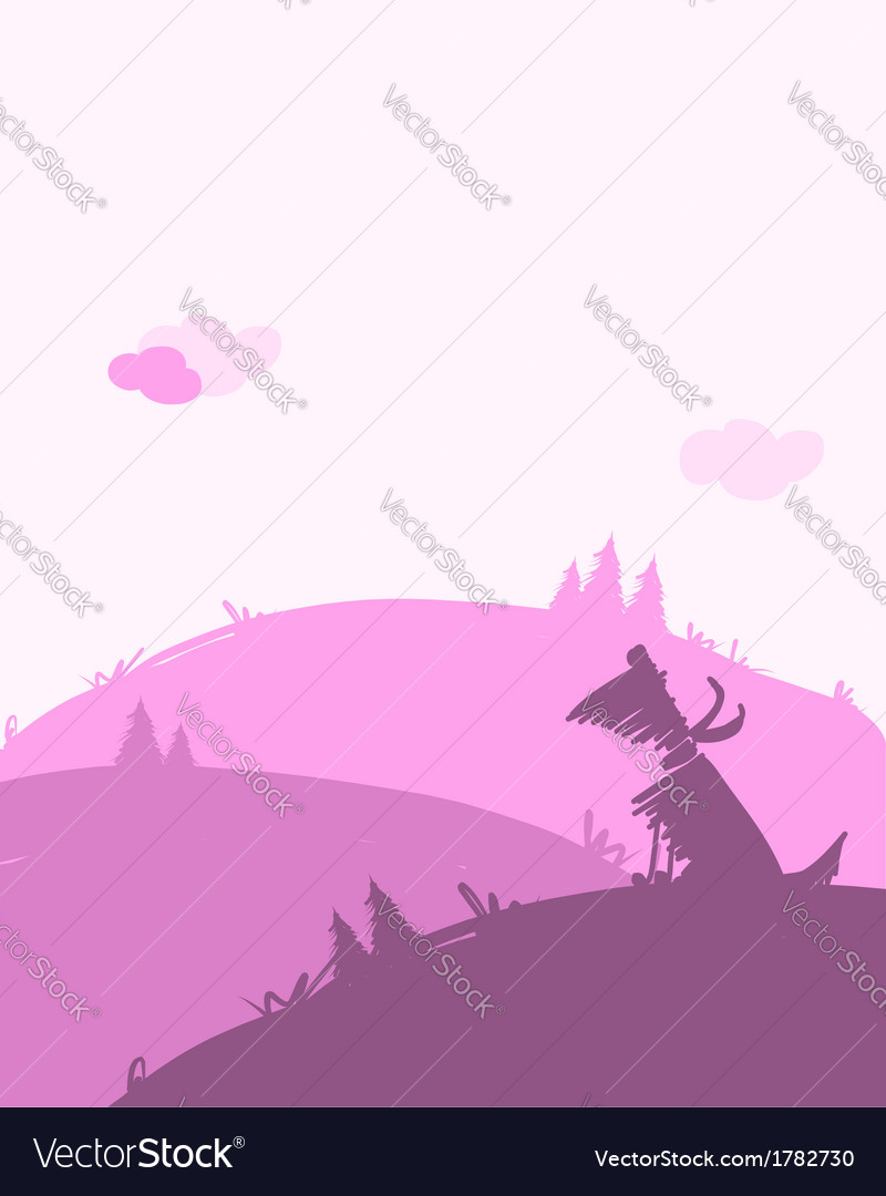 Dog silhouette dawn landscape for your design vector | Price: 1 Credit (USD $1)