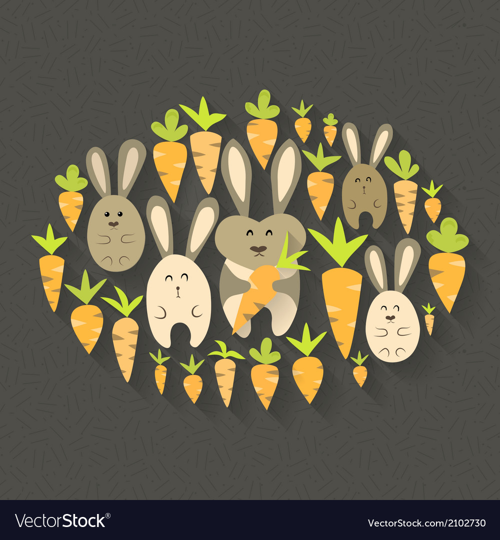Eastern rabbits and carrots set icons vector | Price: 1 Credit (USD $1)