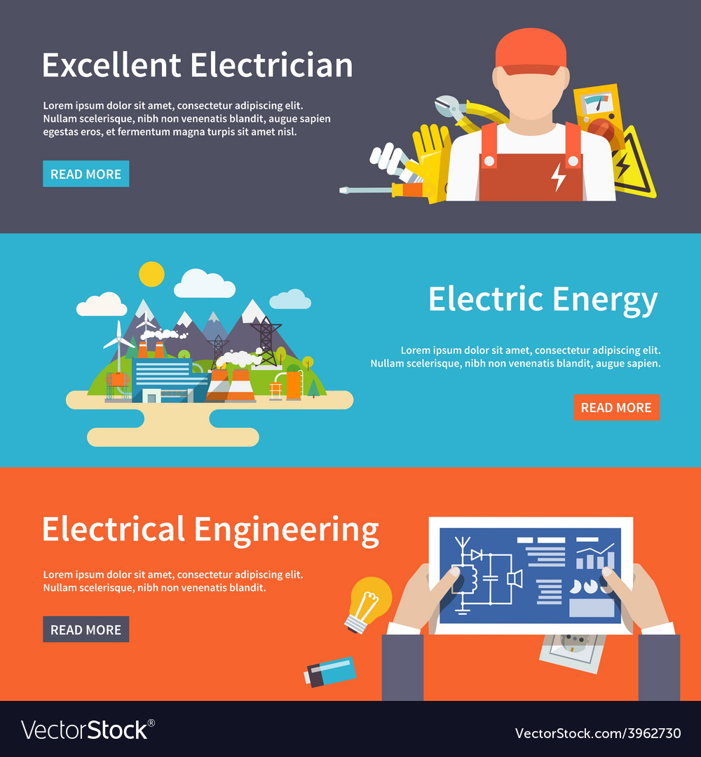 Electricity banner set vector | Price: 1 Credit (USD $1)