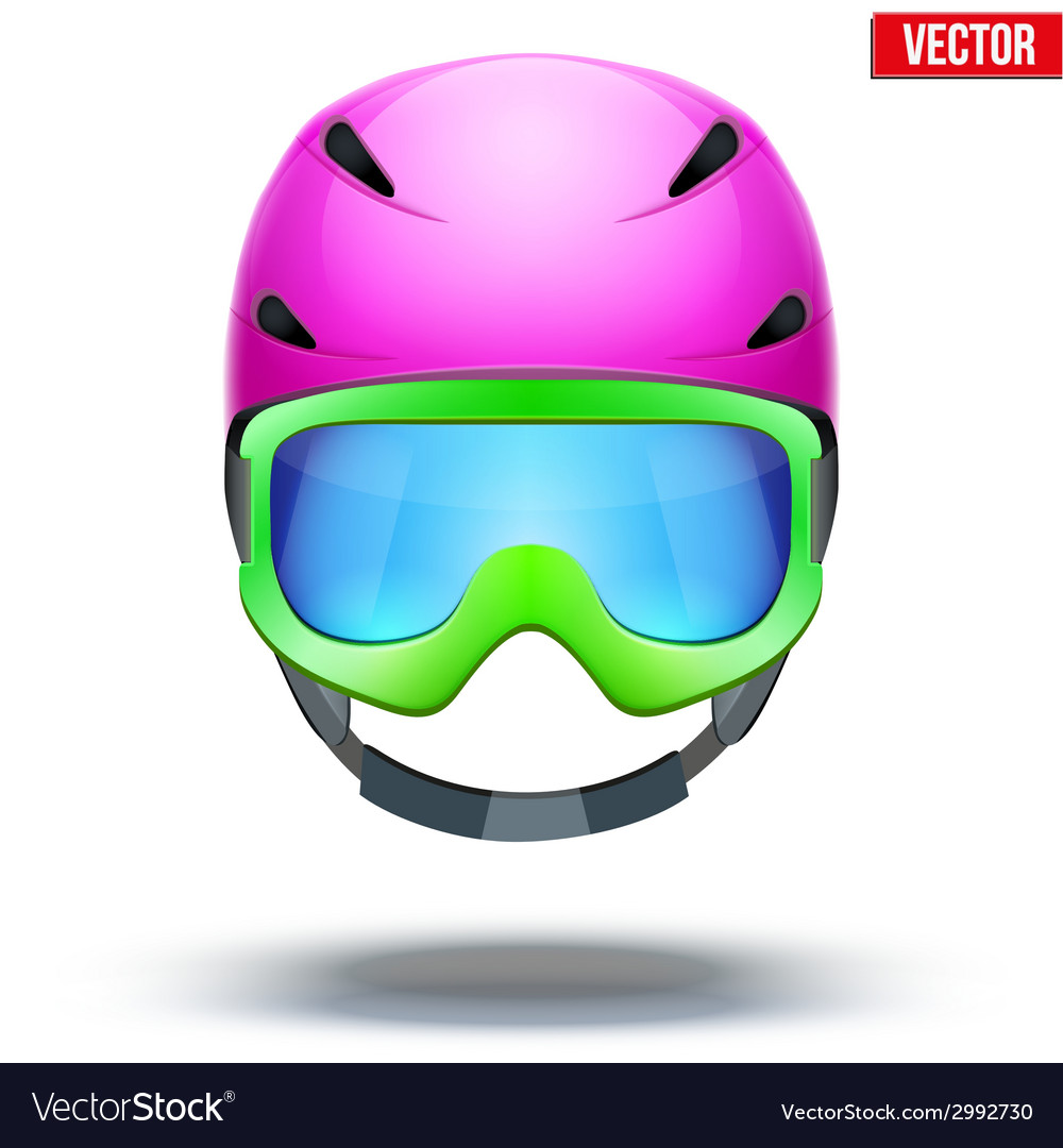Front view of classic pink ski helmet and green vector | Price: 1 Credit (USD $1)