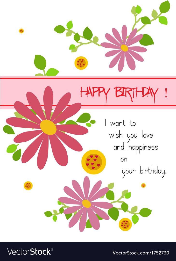 Happy birthday with flowers vector | Price: 1 Credit (USD $1)
