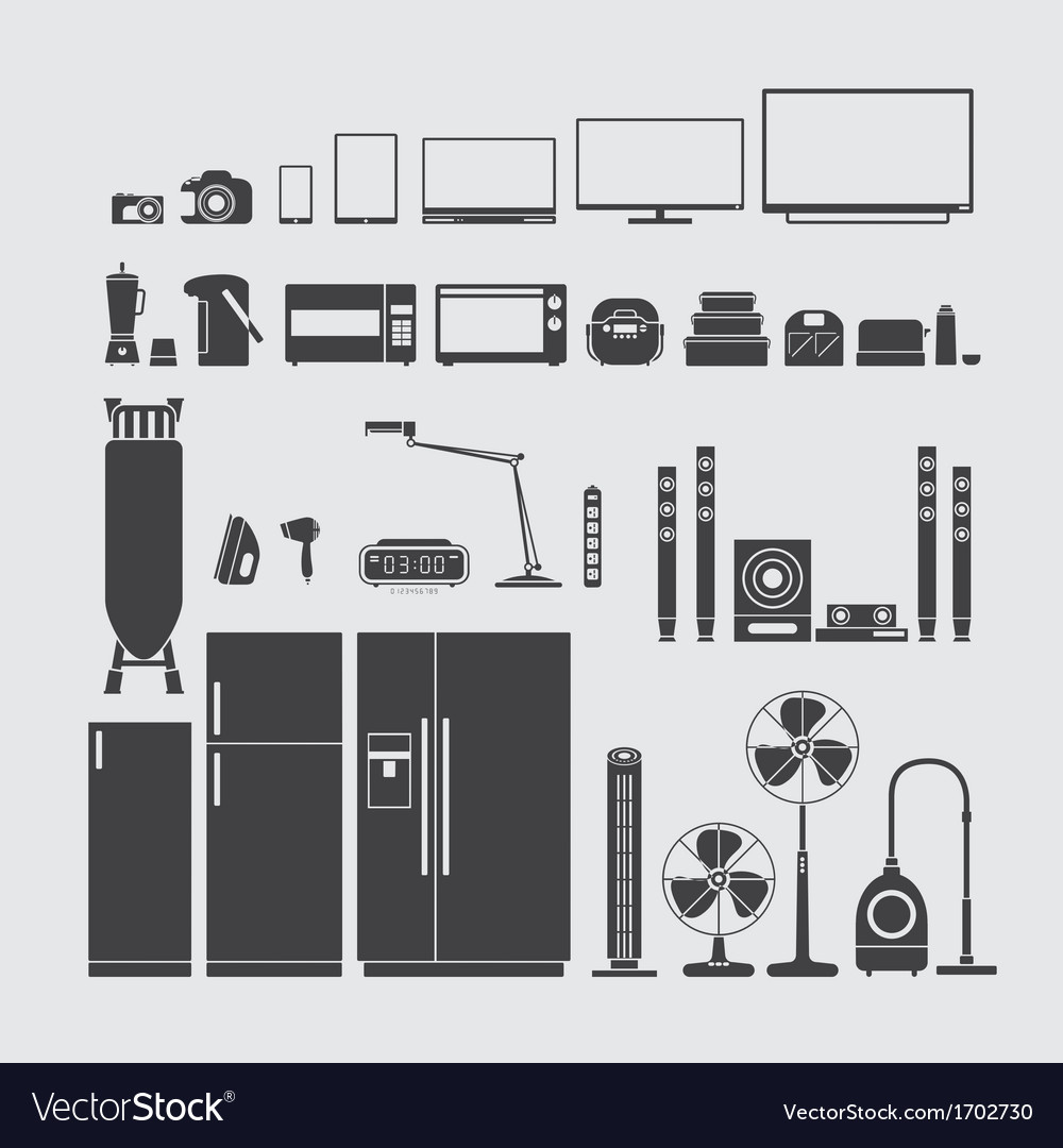 Home appliance silhouette vector | Price: 1 Credit (USD $1)