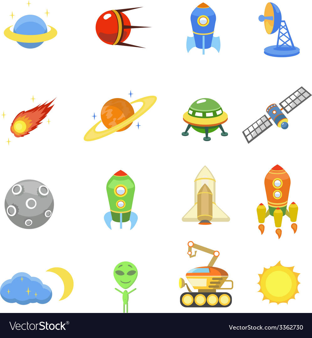 Space icons set of rocket galaxy planet ufo vector | Price: 1 Credit (USD $1)