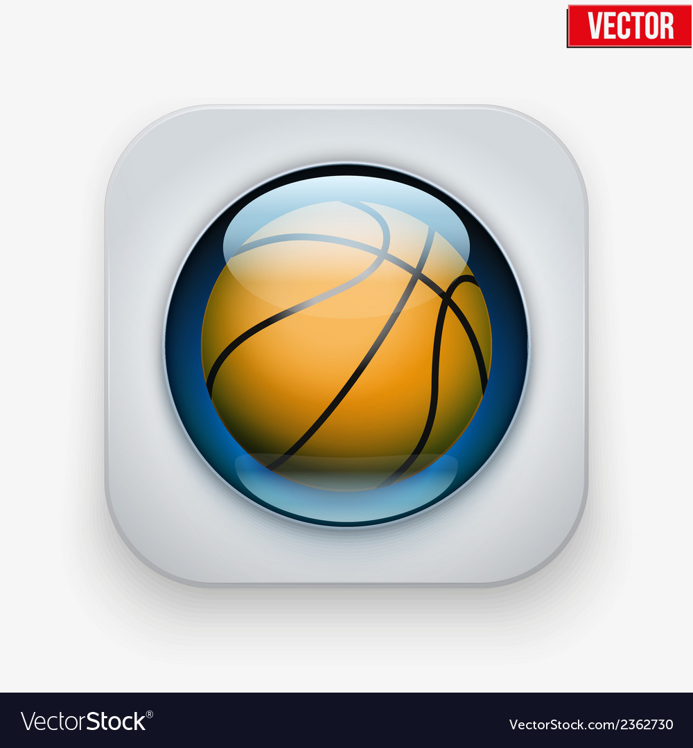Sports button with ball under glass for website or vector | Price: 1 Credit (USD $1)