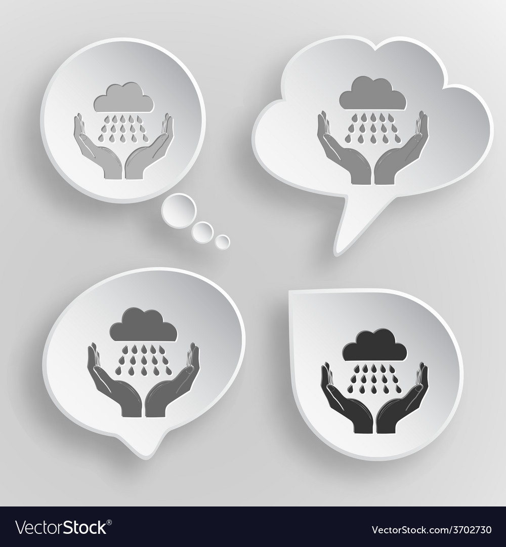 Weather in hands white flat buttons on gray vector | Price: 1 Credit (USD $1)