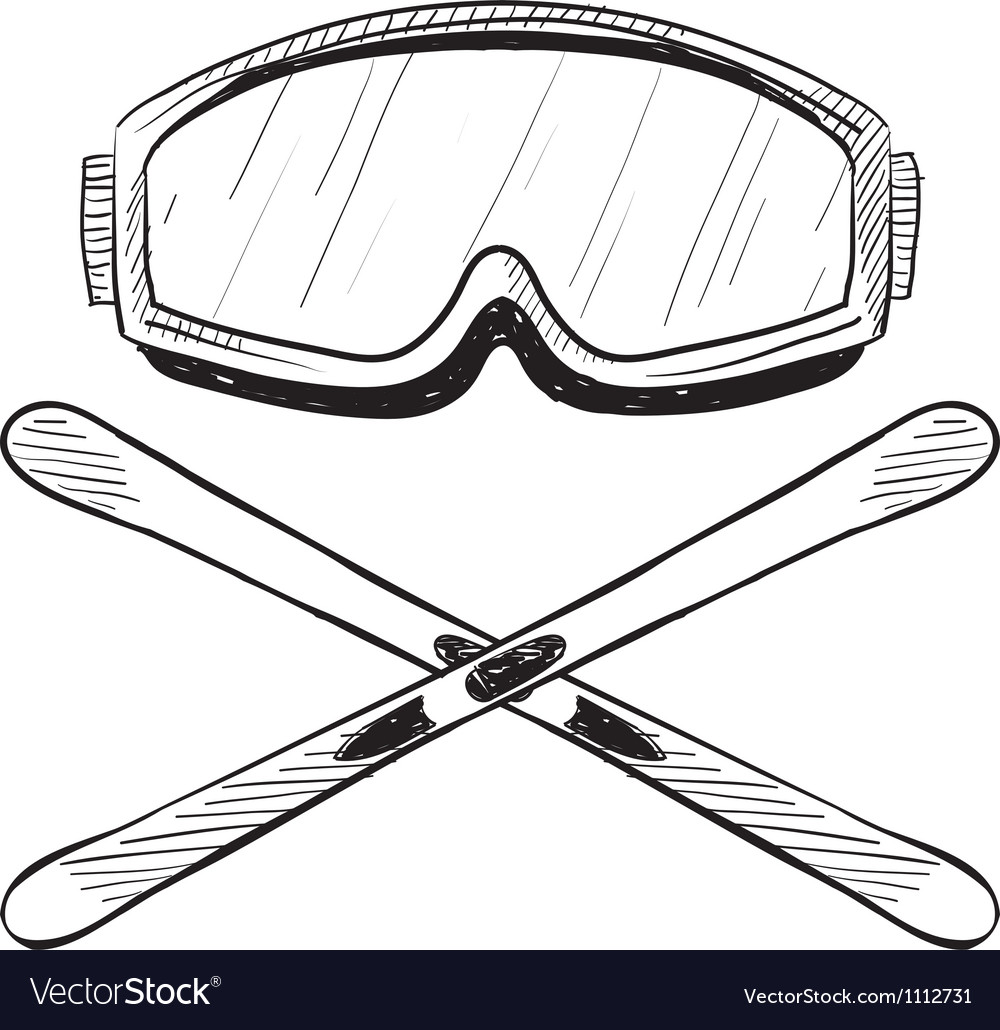 Doodle ski goggles skis vector | Price: 1 Credit (USD $1)