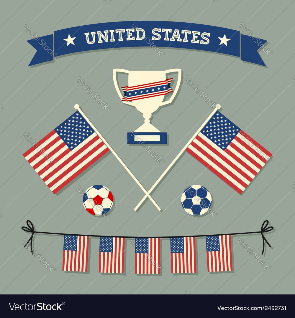 Flat design us soccer icons symbols decoration vector | Price: 1 Credit (USD $1)
